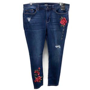 New York & Company Blue Floral Embroidered Jeans
